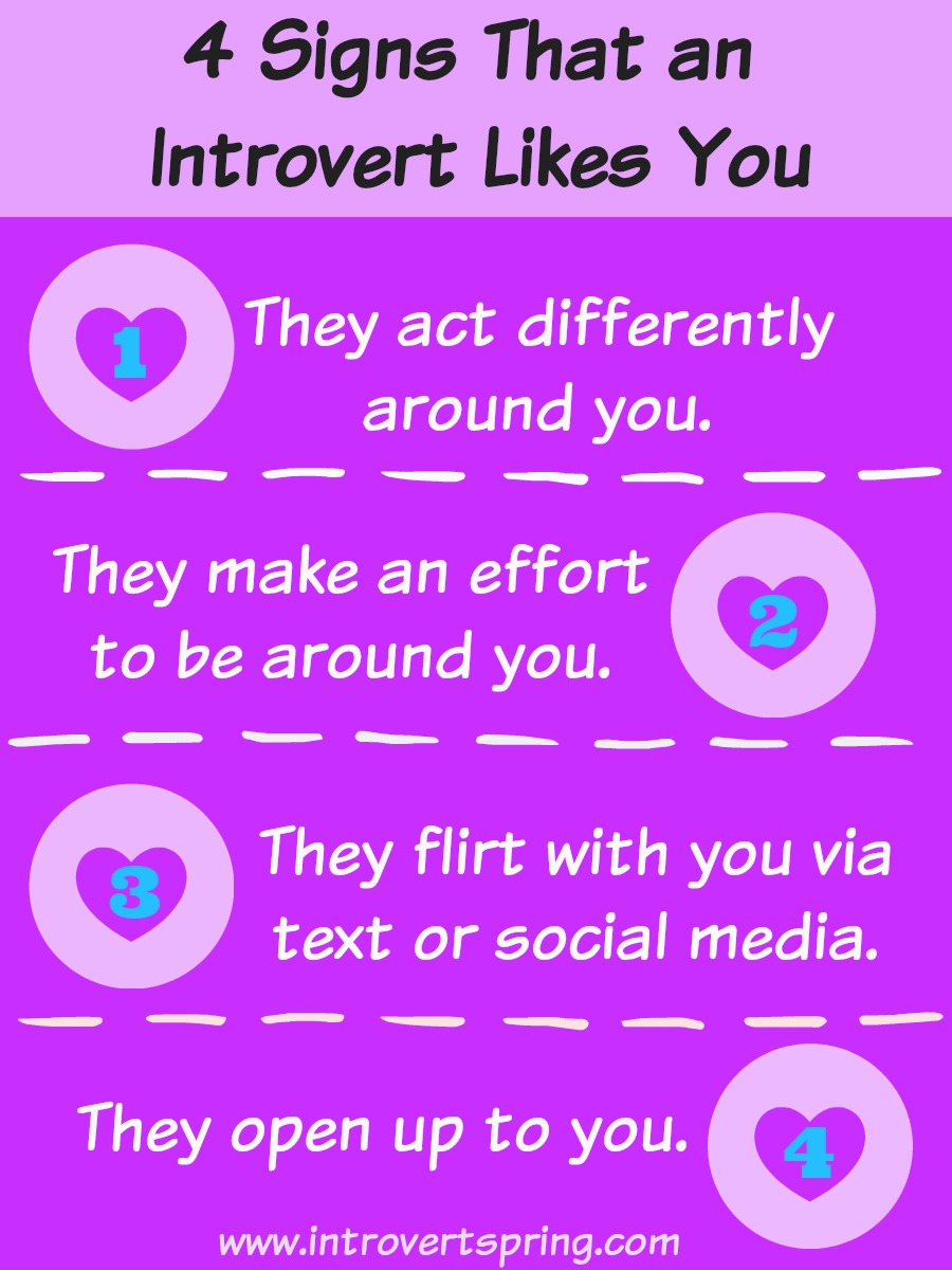 signs how to know if an introvert likes you